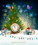 Holiday New Year`s background with a Christmas tree, clock Stock Photo