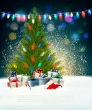 Holiday New Year`s background with a Christmas tree and firework Stock Image