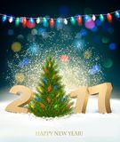 Holiday New Year`s background with 2017 and fireworks. Vector Royalty Free Stock Images