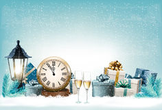 Holiday New Year`s background with presents. And clock. Vector Stock Photography