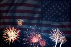 Fireworks and flag of America Royalty Free Stock Photo