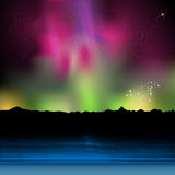 Holiday, night summer beach with aurora Stock Images