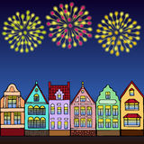 Holiday night in town. Vector illustration of hand drawn houses and fireworks for invitation, posters, greeting cards, annunciations Royalty Free Stock Images