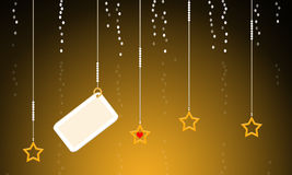 Holiday note card with hanging stars Stock Photography