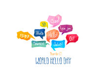 Holiday November 21 - World hello day. Royalty Free Stock Image