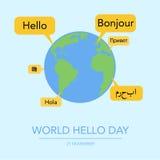 Holiday November 21 - World hello day. Stock Image