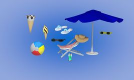 Holiday objects background, 3d render Stock Photography