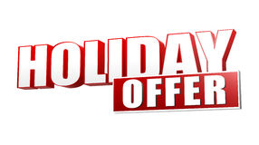 Holiday offer in 3d red letters and block. Over white background, business seasonal concept Stock Images