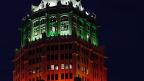 Holiday office building at night stock video