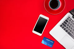 Holiday online shopping concept. View from above with copy space.  stock image