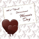 Holiday open white with ornament. Chocolate melting heart with the words International Women`s Day on 8 March. Vector Stock Photo