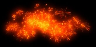Holiday: orange festive fireworks at night. Over black Stock Images