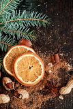 Holiday Orange on Wooden Table Stock Photography