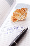 Holiday in organizer Stock Image