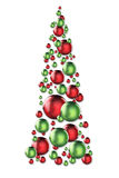 Holiday ornament tree. New Year's/Holiday/Christmas tree made of red and green reflective ornaments Royalty Free Stock Photo