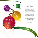 Holiday Ornaments. Strewn multi-colored ornaments tied with a green ribbon,  illustration Royalty Free Stock Images