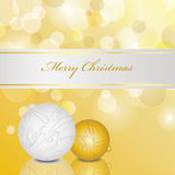 Holiday ornaments card. Holiday golden background illustration design Stock Photos