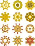 Holiday ornaments collection. Collection of 12 ornamental stars Stock Photo