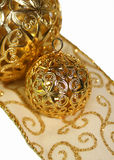 Holiday ornaments and ribbon Stock Photography