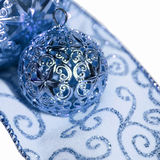 Holiday ornaments and ribbon Royalty Free Stock Image