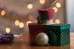 Holiday Ornaments On Wood Table Abstract Christmas Background. S Stock Photo