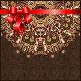 Holiday ornate floral background with red ribbon Royalty Free Stock Photography