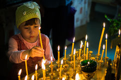 Holiday of the Orthodox Church on Pentecost Sunday in the Kaluga region in Russia on 19 June 2016. Royalty Free Stock Photography