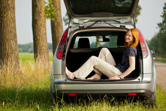 Holiday or outing - woman in a car Royalty Free Stock Image