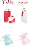 Holiday packages. Set of packages for holidays, ribbons, shopping Stock Photography