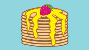 Holiday Pancake Day. A stack of pancakes with butter and strawberry. Stock Photos
