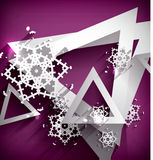 Holiday Paper 3d Snowflakes. Goemtric shape background Royalty Free Stock Photography