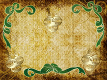 Holiday Parchment. Highly detailed, parchment textured grunge background with holiday bows and ornaments Royalty Free Stock Image