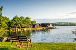 Holiday park with wooden lodges. Stock Photo