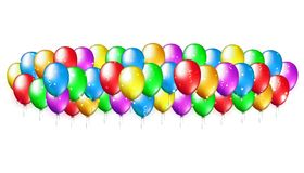 Holiday party background colorful balloons. Multicolor balloons on white background. Balloon festive decoration. Happy holyday