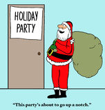 Holiday Party. Christmas cartoon of Santa Claus beside a door 'Holiday Party'. Santa says, 'This party's about to go up a notch stock illustration