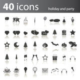 40 Holiday and Party Icons Royalty Free Stock Photo