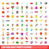 100 holiday party icons set, cartoon style. 100 holiday party icons set in cartoon style for any design vector illustration Stock Photos