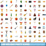 100 holiday party icons set, cartoon style. 100 holiday party icons set in cartoon style for any design vector illustration Vector Illustration