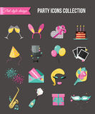 Holiday and party icons set with colorful balloons, cake, invitation, gift box. Flat style design. Vector illustration. Royalty Free Stock Photography