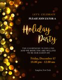 Holiday party invitation. With golden lights and text. Bokeh background with copy space. Possible to create holiday cards or banner Royalty Free Stock Photography