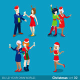 Holiday party masquerade Christmas New Year flat isometric 3d. Holiday party masquerade fashionable young women icon set. Merry Christmas Happy New Year flat 3d royalty free illustration