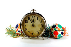 Holiday Party Vintage Tin Noise Makers And Big Ben Alarm Clock Royalty Free Stock Photos