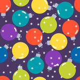 Holiday pattern background with Christmas balls and snowflakes Royalty Free Stock Images
