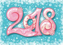 Holiday pattern with color hand lettering 2018 and Happy New Year blue bckground. With snow and stars vector image. Colorful celebration pattern for New Year Royalty Free Stock Photos