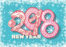 Holiday pattern with color hand lettering 2018 and Happy New Year blue bckground. With snow and stars vector image. Colorful celebration pattern for New Year Stock Photo