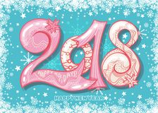 Holiday pattern with color hand lettering 2018 and Happy New Year blue bckground. With snow and stars vector image. Colorful celebration pattern for New Year Royalty Free Stock Photo
