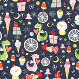 Holiday pattern with dragons and gifts Stock Photography