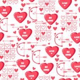 Holiday pattern with hearts, lovely text, arrow. Be mine. Stock Images