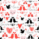 Holiday pattern with love birds and hearts. Bright graphic pattern of love birds and hearts on a white background Royalty Free Stock Images
