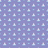 Holiday pattern purple vector, ship and cloud. Nice purple pattern will make you to dream about your rest. Blue cloud and white ship are the best accosiation Royalty Free Stock Image